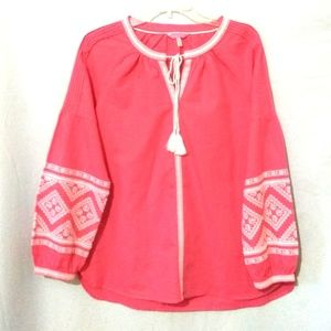 Joules BOHO Embroidered Coral Top Blouse 10